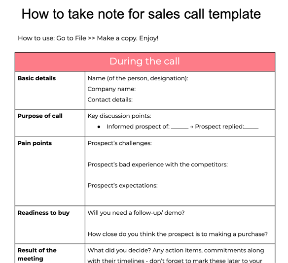 sales call note-taking template