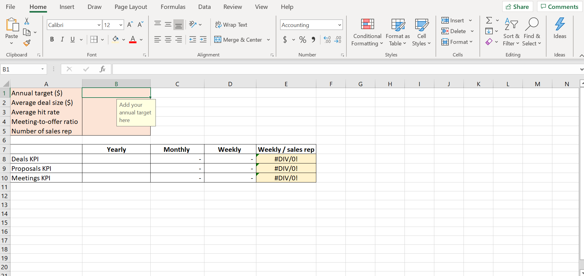 Sales KPI calculator excel sheet