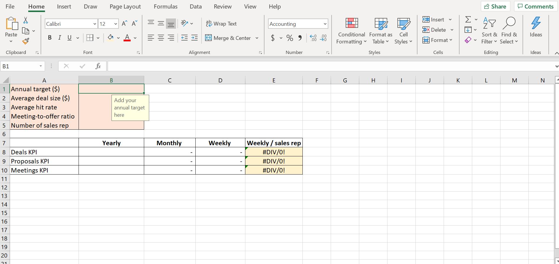 screenshot of Sales KPI calculator excel sheet