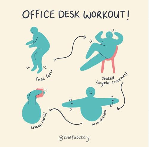 office desk workout illustration