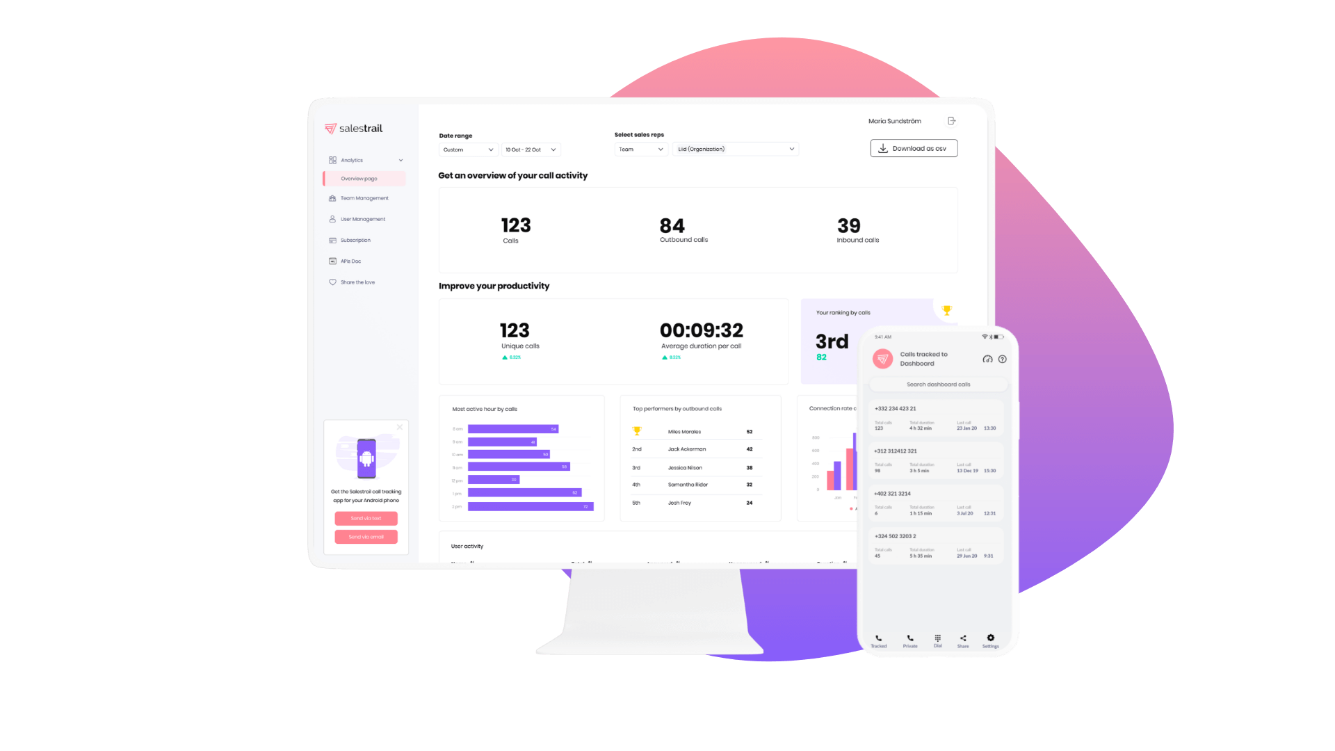 salestrail dashboard and app - compressed