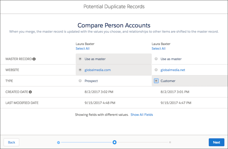 merging accounts salesforce lightning screenshot