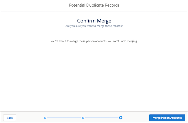 Merge confirmation for person accounts